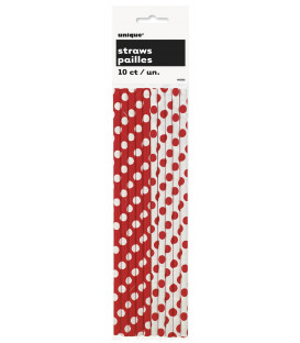 Cannucce carta Rosso Pois H.21 cm 10 pz