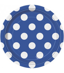 Piatto 18 cm Blu Pois Bianchi 8 pz
