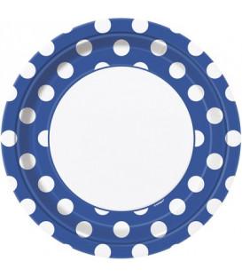 Piatto 23 cm Blu Pois Bianchi 8 pz