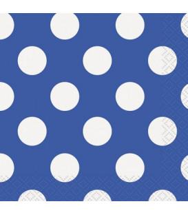 Tovagliolo 25 x 25 cm Blu Pois Bianchi 3 confezioni