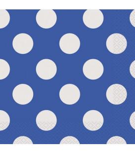 Tovagliolo 33 x 33 cm Blu Pois Bianchi 3 confezioni