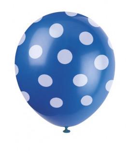 "Palloni lattice 12"" - 30 cm Blu Pois Bianchi 6 pz"