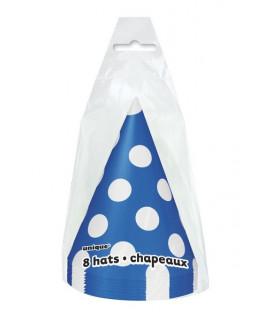Cappello cono Blu Pois Bianchi 8 pz