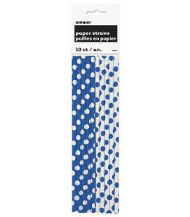 Cannucce carta Blu Pois H.21 cm 10 pz