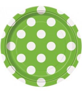 Piatto 18 cm Verde Lime Pois Bianchi 8 pz