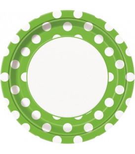 Piatto 23 cm Verde Lime Pois Bianchi 8 pz