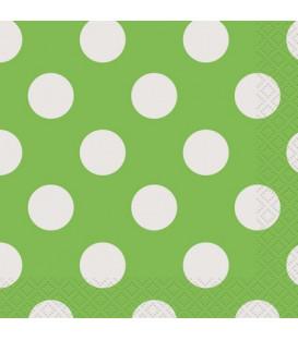 Tovagliolo 25 x 25 cm Verde Lime Pois Bianchi 3 confezioni