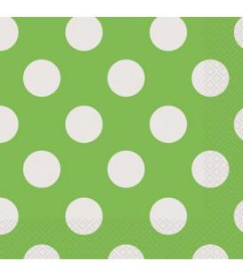 Tovagliolo 33 x 33 cm Verde Lime Pois Bianchi 3 confezioni