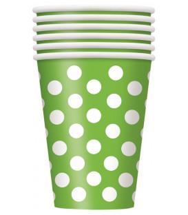 Bicchiere 355 ml Verde Lime Pois Bianchi 6 pz
