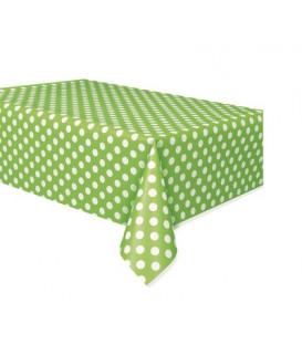 Tovaglia plastica 137 x 274 cm Verde Lime Pois Bianchi 1 pz