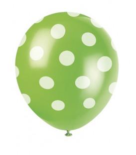 """Palloni lattice 12"""" - 30 cm Verde Lime Pois Bianchi 6 pz"""