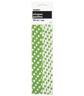 Cannucce carta Verde Lime Pois H.21 cm 10 pz