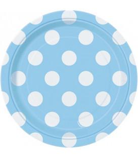 Piatto 18 cm Azzurro Pois Bianchi 8 pz