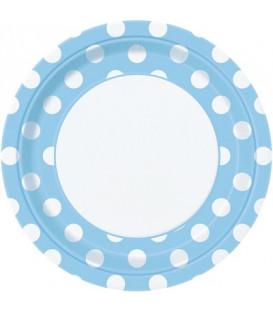 Piatto 23 cm Azzurro Pois Bianchi 8 pz