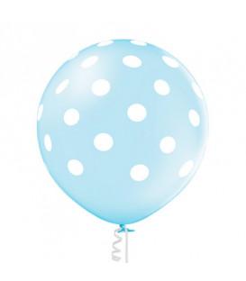 """Pallone lattice 24"""" - 60 cm Azzurro 003 pois bianchi - Professionale 2 pz"""