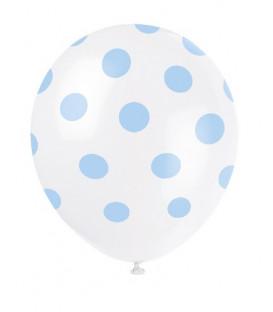 "Palloni lattice 12"" - 30 cm Pois Azzurri 6 pz"