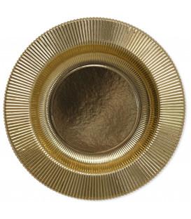 Piatti Fondi di Carta a Righe Oro Metallizzato Lucido