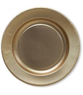 Piatti Piani di Carta a Righe Oro Metallizzato Satinato 21 cm