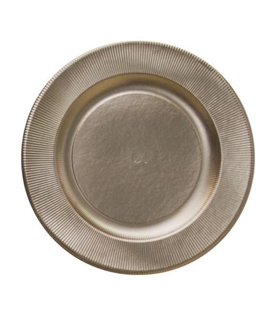 Piatti Piani di Carta a Righe Oro Satinato Metallizzato