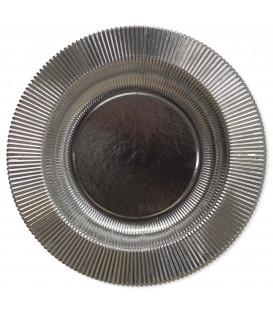 Piatti Fondi di Carta a Righe Argento Metallizzato