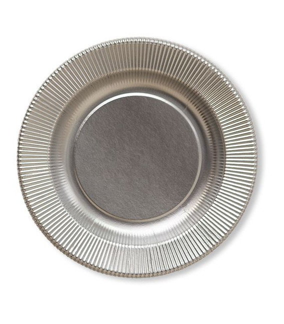 Piatti Piani di Carta a Righe Argento Satinato Metallizzato