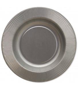 Piatti Fondi di Carta a Righe Argento Metallizzato Satinato 25,5 cm