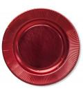 Piatti Piani di Carta a Righe Rosso Metallizzato Lucido