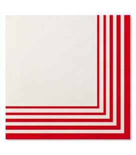 Tovaglioli Compostabili 3 veli Bianco Rosso 33x33 cm 3 confezioni