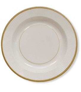 Piatti Fondi di Carta a Righe Bordo Oro Classic Gold 25,5 cm