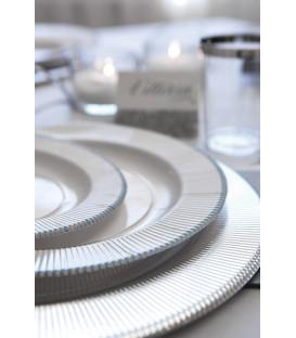 Piatti Fondi di Carta a Righe Bordo Argento Classic Silver