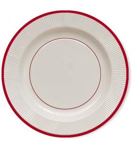 Piatti Piani di Carta a Righe Bordo Rosso Classic Red 27 cm
