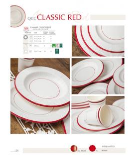 Piatti Piani di Carta a Righe Bordo Rosso Classic Red