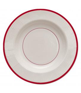 Piatti Fondi di Carta a Righe Bordo Rosso Classic Red 25,5 cm