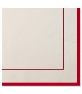 Tovaglioli a Righe Bordo Rosso Classic Red 33 x 33 cm 3 confezioni