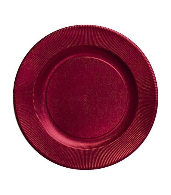 Piatti Piani di Carta a Righe Rosso Satinato Metallizzato