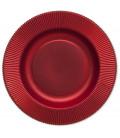 Piatti Fondi di Carta a Righe Rosso Metallizzato Satinato 25,5 cm