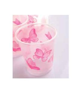 Bicchieri di Plastica Farfalla Rosa 250 cc