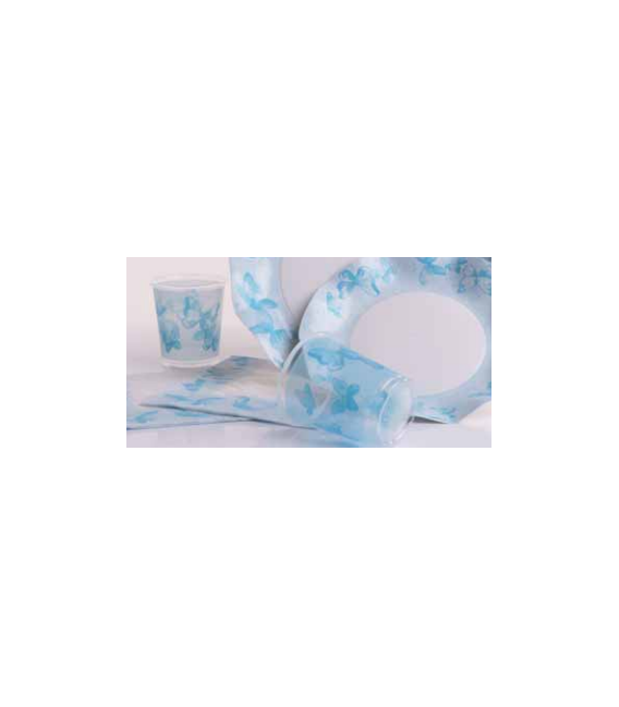 Bicchieri di Plastica PPL Farfalla Turchese 250 cc