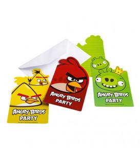 Inviti Angry Birds 6 Biglietti 6 Buste