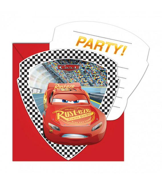 Inviti CARS 3 - 14 x 8,5 cm 6 Biglietti 6 Buste