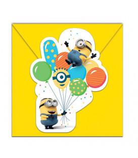 Inviti MINIONS BALLOONS 14 x 8,5 cm 6 Biglietti 6 Buste