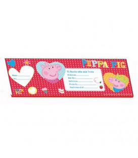Biglietti Inviti PEPPA PIG 20 x 7,5 cm 20 Pz