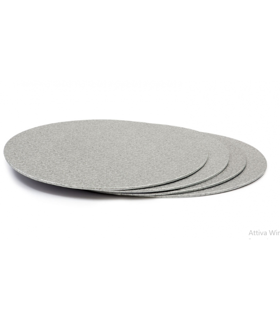 Sottotorta Vassoio Rigido Tondo Sottile Argento H 3 mm