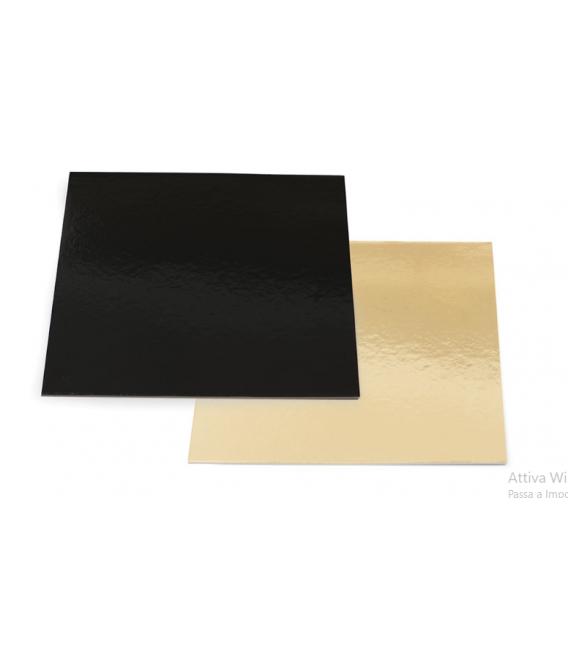 Sottotorta - Vassoio Quadrato Double Face Oro - Nero H 0,3 cm 1 pz