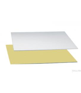 Sottotorta - Vassoio Rettangolare Double Face Oro - Argento H 3 mm 1 pz