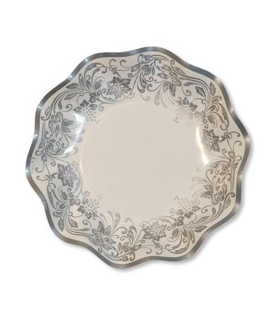 Piatti Fondi di Carta a Petalo Noblesse Argento 24 cm