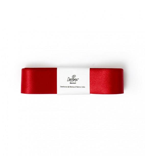 Nastro a Matassina Doppio Raso Rosso Corallo 25 mm x 3 mt