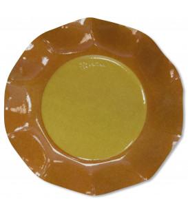 Piatti Piani di Carta a Petalo Bicolore Giallo - Arancione 27 cm 2 confezioni