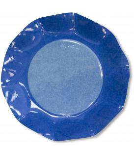 Piatti Piani di Carta a Petalo Bicolore Turchese - Blu Cobalto 27 cm 2 confezioni