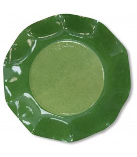 Piatti Piani di Carta a Petalo Bicolore Verde - Verde Scuro 27 cm